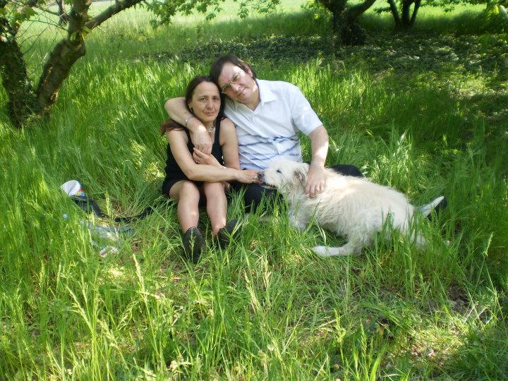 Marie,Pierrot et notre chien Rox dans les vergers
